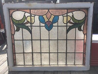 VINTAGE ANTIQUE STAINED GLASS WINDOW! WOOD WOODEN LEADED COLORED 1900s ENGLAND B