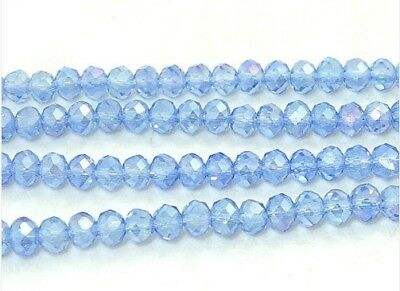 Light blue Crystal Glass Rondelle Faceted Loose Spacer Beads Color AB 6x8mm 70pc