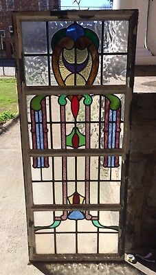 Vintage Antique Stained Glass Window! Metal Frame Leaded Colored England English