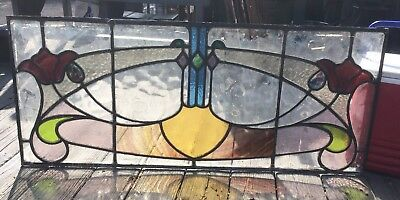 VINTAGE ANTIQUE STAINED GLASS TRANSOM WINDOW! LEADED COLORED 1900s ENGLAND