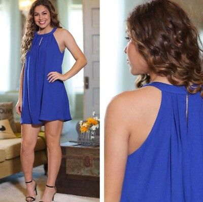 ece6df0701f3 L@@K INFINITY RAINE Royal Blue Halter High Neck Trapeze Dress NWT Small or  Large - $9.89 | PicClick