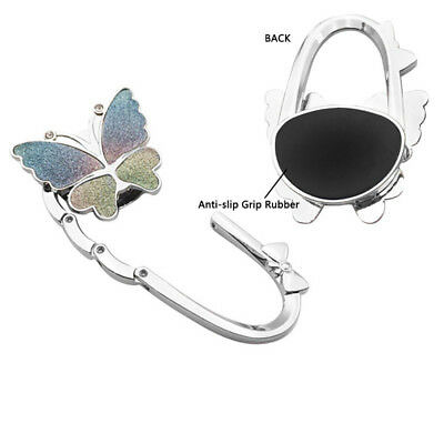 Bathroom Hardware silver New Butterfly Folding Hanger Holder Hook Handbag Bag Rhinestone