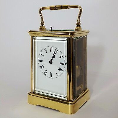 Large Antique French Brass Corniche Cased Striking Repeat Carriage Clock c.1890