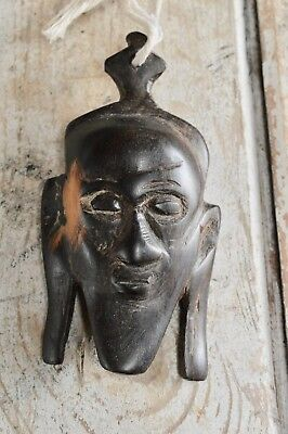 Early 20th Century Carved African Hardwood Small Face Decorative Mask