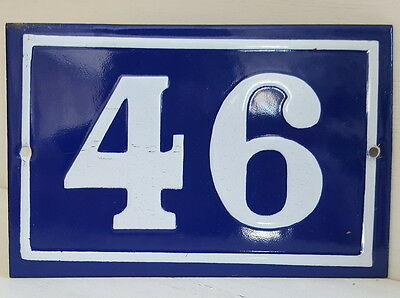 OLD FRENCH HOUSE NUMBER SIGN door gate PLATE PLAQUE Enamel steel metal 46 Blue