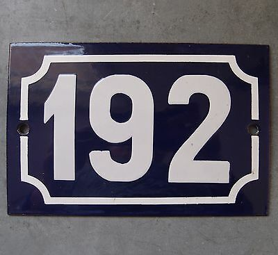 Antique French Enamel Steel Door House Street Gate Number Sign Plaque 192