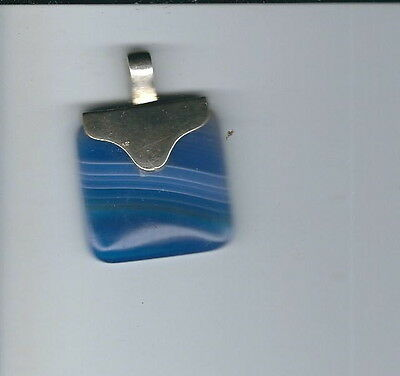 AS-092 - Sterling Silver and Blue Striped Glass Pendant, Vintage Very Pretty