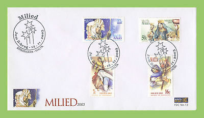 Malta 2003 Christmas set on First Day Cover, Birkirkara