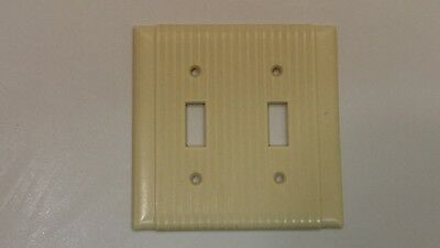 Vintage Art Deco Ivory Uniline Ribbed Double Light Switch Wall Plate Cover YY