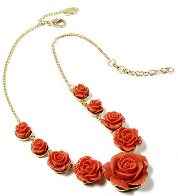 Amrita Singh Coral Red Tea Rose 3D Flower Resin Necklace NKC 1623 NWT