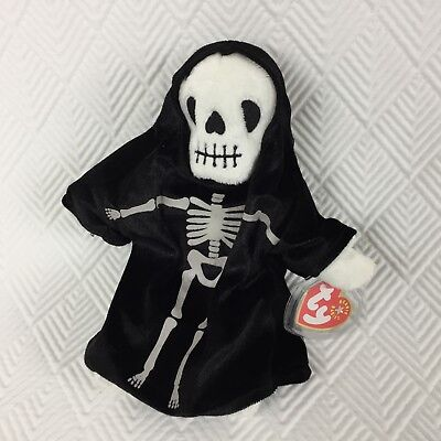 Ty Beanie Babies Creepers 2000 Skeleton Ghost Halloween Black Cloak