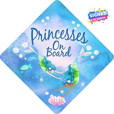 Princesses Mermaids on Board Non Personalised Child/Baby On Board Car Sign ~ New