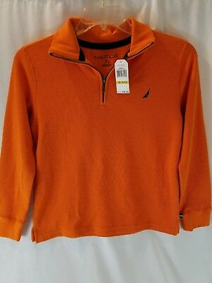 Boys Nautica Medium (10/12) Orange Half Zipper Sweater - New with Tag