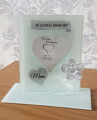 Mum In Loving Memory Ornament Remembrance Glass Glitter Rose Photo Frame Mum