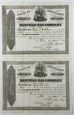 2 Antique Stock Certificates, Danville Gas Company, State of Pennsylvania 1858