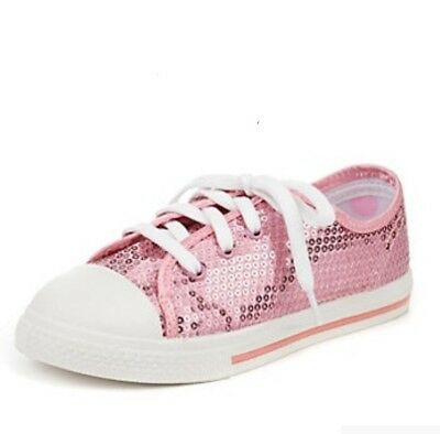 NEW - M&S Girls Kids Sparkly Sequin Embellished Lace Up Trainers Pumps UK Size 9
