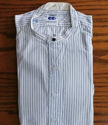 Blue striped utility shirt CC41 collarless Austin Reed tunic 1940s WW2 size 16.5