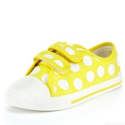 NEW - M&S Girls Kids Spotted Riptape Trainers (Yellow) - UK Sizes 7, 9, 13
