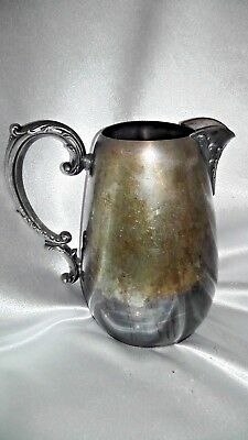 "Vintage Wm Rogers Silver Water Pitcher w/Ice Lip 7"" x 7"""