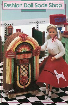 Fashion Doll Soda Shop ~ fits Barbie dolls, plastic canvas pattern booklet
