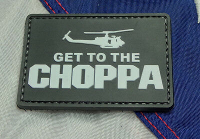 Get To The Choppa Black Pvc Morale Patch Hook Tactical Helicopter Movie Predator