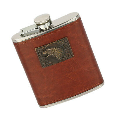 New 8oz Hip Flask Brown Leather Effect High Quality Stainless Steel #2