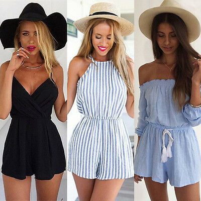 Women's Summer Beach Jumpsuit Club Bodycon Holiday Ladies Playsuit Romper Shorts