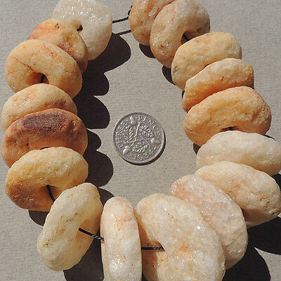 17 ancient neolithic quartz african stone beads mali #4002