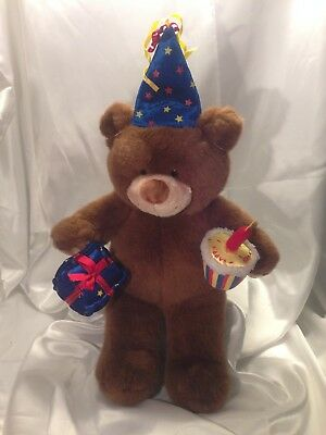 """Build a Bear Workshop Plush BROWN BEAR 16"""" With Birthday Hat and Gift BAB"""