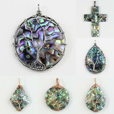 New Natural Paua Abalone Shell Wire Wrap Tree of Life Pendant Bead for Necklace