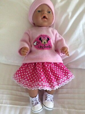 """Doll Clothes to fit 17"""" Baby Born doll ~ 3 Piece Set. Minnie Mouse : Pink Spot"""