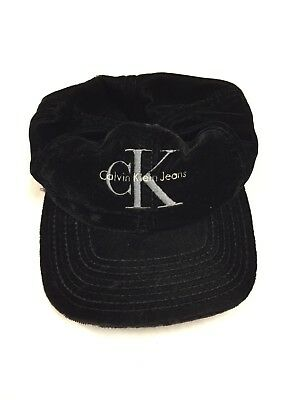 b1681b5b0011a Vintage 90s Calvin Klein Black SnapBack Embroidered Spell Out Made In USA 1  ...