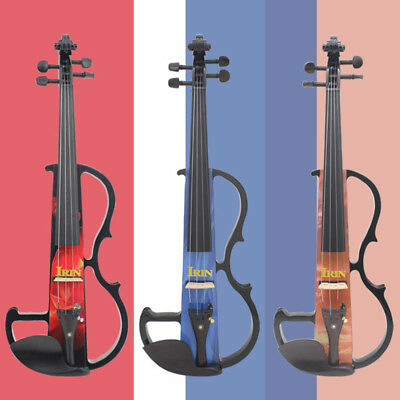 3 Colors Electric Violin Pine Fitted Style + Box + Bow + Earphone for Beginner.
