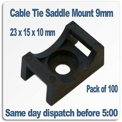 Cable Tie Saddle Mounts for 9mm ties. Black nylon 66 Pack of 100