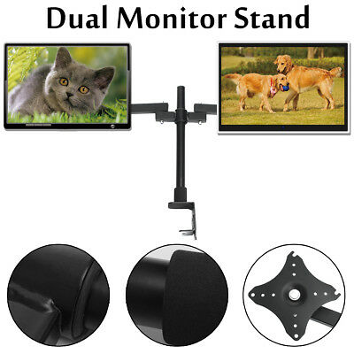 BABAN Dual HD LED Desk Mount Monitor Stand Bracket 2 Arm Holds Two LCD Screen TV