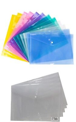 Clear/Color Stud Wallet File Folder A4/A5 Plastic Document Holder Popper Wallets
