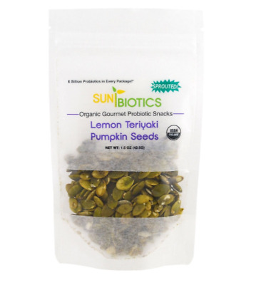 New Sunbiotics Organic Gourmet Probiotic Snacks Pumpkin Seeds Lemon Teriyaki