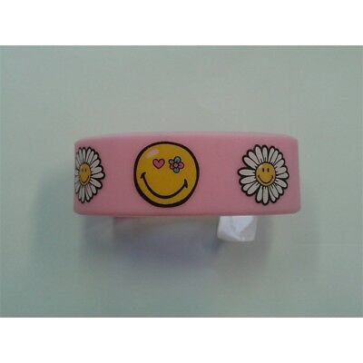Smiley Flowers Rubber Wristband - 65mm Diameter X 25mm High - New Wristbands