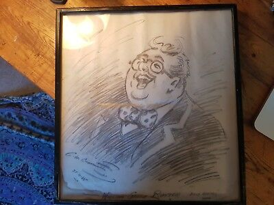 C.h. Chapman, Framed/Signed Original Pencil Drawing For The Cartoon Billy Bunter
