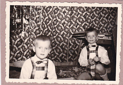 Vintage Photograph - Two German Boys Playing With Toys - Christmas Tree c1960s