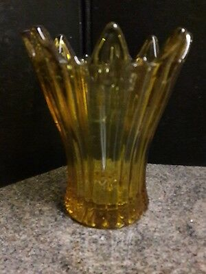 Large Vintage Celery Glass Trophy Two Handle 27 Cm Tall Antique