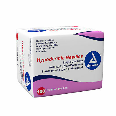 Dynarex Hypodermic Needles, No Syringe Included, Luer Lock, 20G X 1  100Pcs/Box