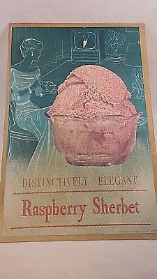Vintage 1950's  **Raspberry Sherbet Poster**  --Shabby Chic Pink and Green--