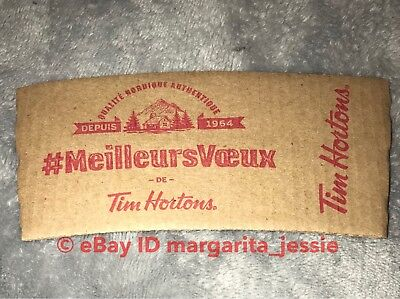 Tim Hortons Coffee Paper Sleeve Warm Wishes Canada French Brown New Holiday 2017