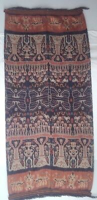 Large Antique Indonesian Ikat, Sumba, Tie-Dye, Handwoven, Cotton, Natural Dyes