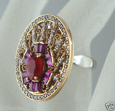 Victorian Style Gold & Silver Tone Ring,red,pink,rhinestone,open Work Cocktail
