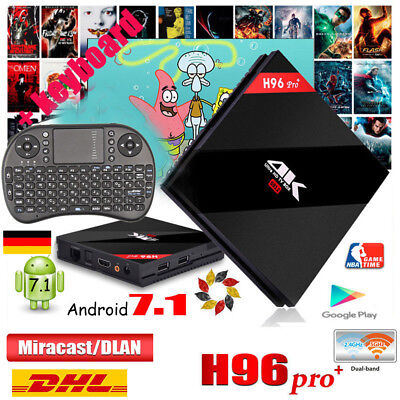 3GB+32GB H96 Pro PLUS TV BOX Android 7.1 4K Octa Core 2.4G/5.8G Player+Keyboard