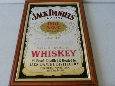 "JACK DANIEL'S OLD No. 7 WHISKEY Bar Mirror in Wooden Frame 9 1/2"" X 13 1/2"""