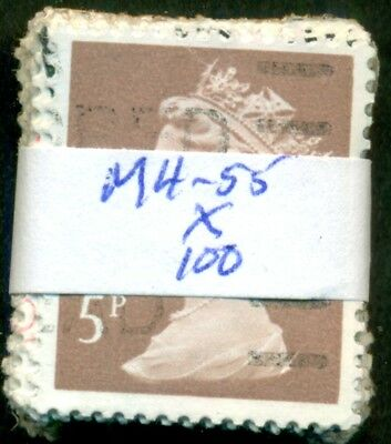 Great Britain Sg-X935, Scott # Mh-55 Machin, Used, 100 Stamps, Great Price!
