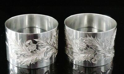 Pair Scottish Thistle Napkin Rings, Hallmarked 1923, Docker & Burn Ltd